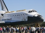 Atlantis being moved to KSCVC (NASA/KSC)