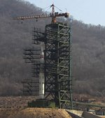 Unha-3 rocket on North Korean pad (Xinhua)